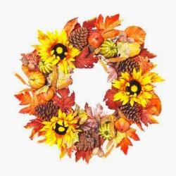 Artificial Sunflowers and Pumpkins Autumn Wreath 65cm - AUT013