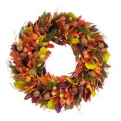 Autumn Wreath   Wood Chips, Crab Apples and Acorns 35cm - AUT014 CC1
