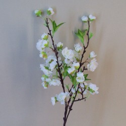 Artificial Cherry Blossom Branch White Short Stem - B038 D3