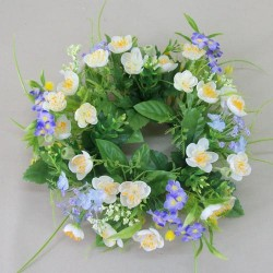 Artificial Buttercups and Forget me Nots Wreath or Candle Ring White - B032 GG3