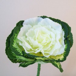 Artificial Ornamental Cabbage 'White Peacock' - C200 BX11