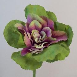 Artificial Ornamental Cabbage Purple Green Short Stem - C226 KK1