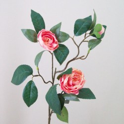 Artificial Camellias Coral Pink Peach - C162 B3