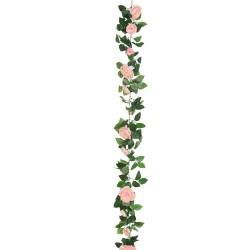Artificial Camellias Garland Coral Pink Peach - C026 E1