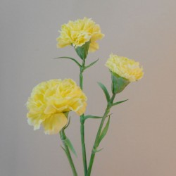 Artificial Spray Carnations Lemon Yellow - C099 D1