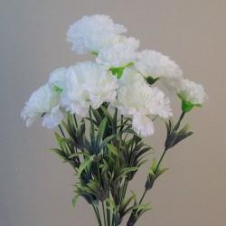 Fleur Artificial Carnations Bunch White - C246 B3