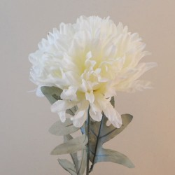 Artificial Pompom Chrysanthemum Cream with Grey Green Leaves - C052 C1