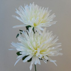 Artificial Spider Chrysanthemums Cream with Green Leaves - S095 Q2