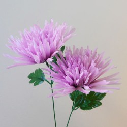 Artificial Spider Chrysanthemums Mauve with Green Leaves - S096 Q2