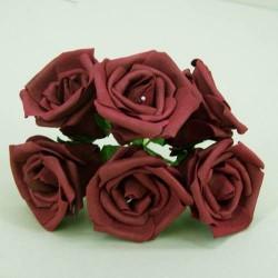 Nadia Colourfast Foam Roses Burgundy 6 pack - R202 KK4