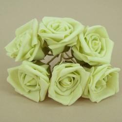 Nadia Colourfast Foam Roses Pistachio Green 6 pack - R203 T3