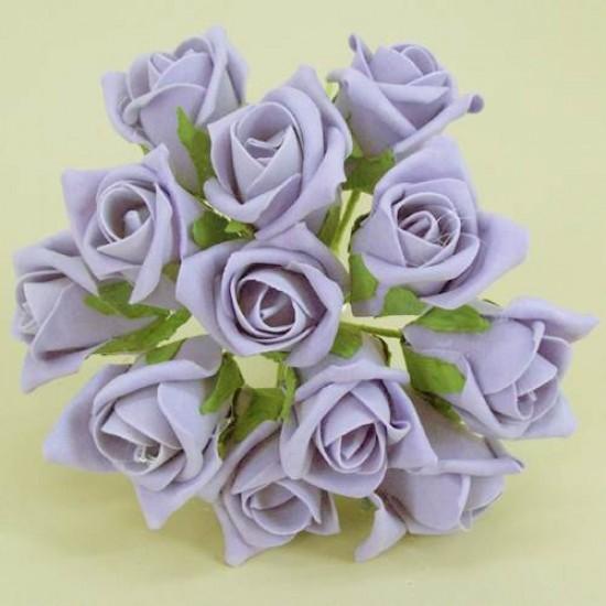 Colourfast Foam Roses Lavender Purple Bud 12 pack - R175 T4