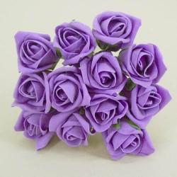 Colourfast Foam Roses Purple Bud 12 pack - R176 T2