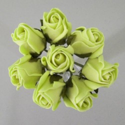 Colourfast Foam Rose Buds Lime Green 8 pack - R396 S2
