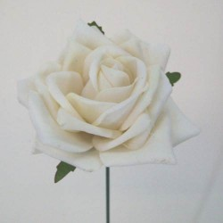 Cream Velvet Rose on Wire Stem - R045 M2