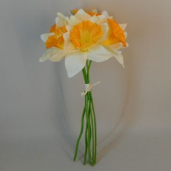 Artificial Daffodils Bundle Cream Orange x 6 - D022 EE3