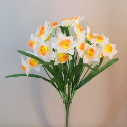 Artificial Daffodil Narcissus Bunch Cream Orange - D007 F2