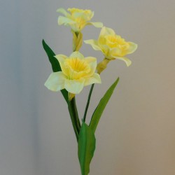 Artificial Daffodil Yellow 3 Flowers - D092 E1