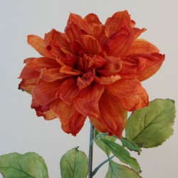 Antique Dahlia Burnt Orange | Faux Dried Flowers - D190 EE4