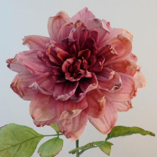 Antique Dahlia Dark Pink | Faux Dried Flowers - D189 EE4