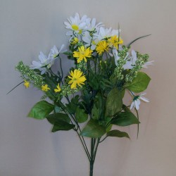 Artificial Asters and Daisies Bouquet Yellow - D126 BX17