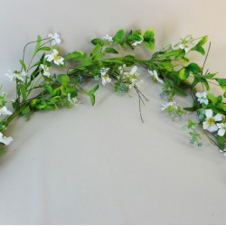 Artificial Dogwood Flowers Garland White and Purple Flowers - M087 GG4