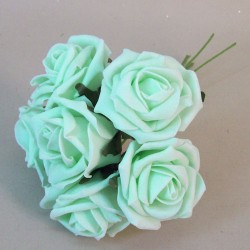 Colourfast Cottage Foam Roses Bundle Pale Mint Green 6 Pack - R002 T1