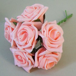 Colourfast Cottage Foam Roses Bundle Peach 6 Pack - R460 T2