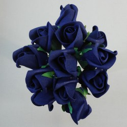 Colourfast Foam Rose Buds Navy Blue 12 pack - R222 LL3