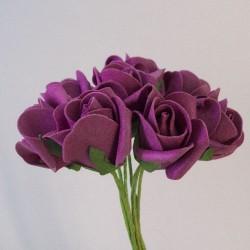 Colourfast Foam Rose Buds Aubergine 8 pack - R189 LL2