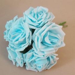 Colourfast Foam Roses Large Aqua Blue 6 Pack - R741 T1