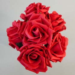 Colourfast Foam Roses Large Red 6 Pack - R217 U1