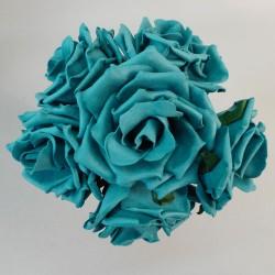 Colourfast Foam Roses Large Teal 6 Pack - R216 U1