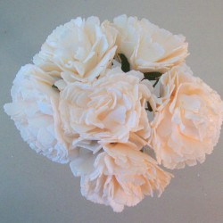 Foam Carnations Posy Champagne Peach 6 Pack - C217 T4