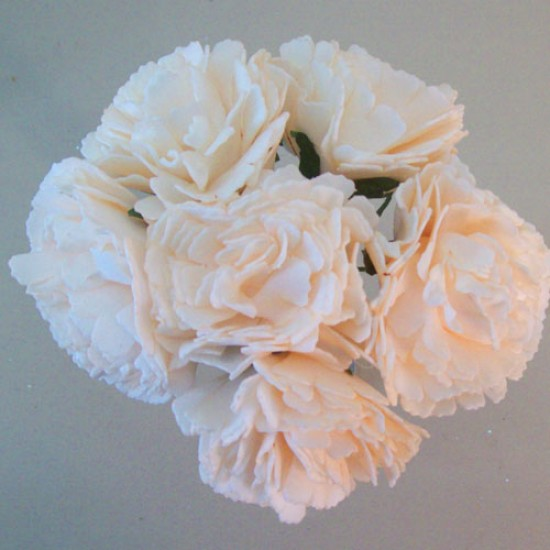 Foam Carnations Posy Champagne Peach 6 Pack - C217 T4