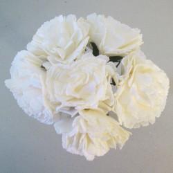 Foam Carnations Posy Ivory 6 Pack - C219 T4