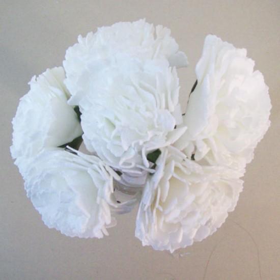 Foam Carnations Posy White 6 Pack - C218 T4