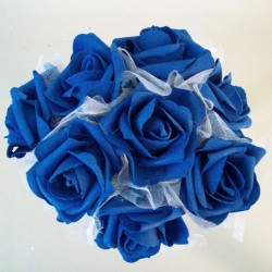 Foam Roses with Tulle Posy Royal Blue Small - R613 T4