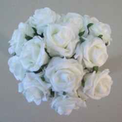 Sweetheart Foam Roses White 12 pack - R193 T1