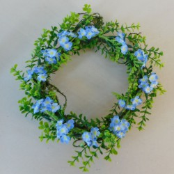 Artificial Forget me Nots Wreath or Candle Ring Blue - F009 AA2