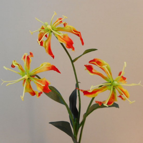 Artificial Gloriosa Flame Lily Spray Orange - G017 F4