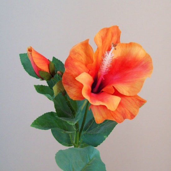 Artificial Hibiscus Flower and Bud Orange - H049