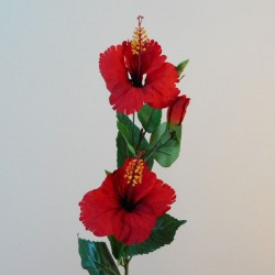 Artificial Hibiscus Flowers and Bud Red - H050 G1