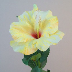 Artificial Hibiscus Flower and Bud Yellow - H048 F2