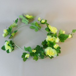 Artificial Hollyhocks Garlands Lemon Yellow - H072 AA3