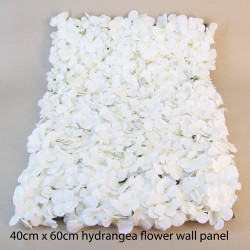 Artificial Hydrangea Flower Wall Panel 40cm x 60cm White - H115
