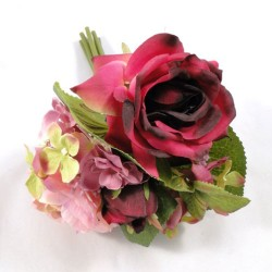 Artificial Hydrangea, Roses and Ranunculus Posy Burgundy Pink - H037 G2