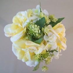 Artificial Hydrangeas Roses and Queen Annes Lace Bouquet Lemon - H098 EE3