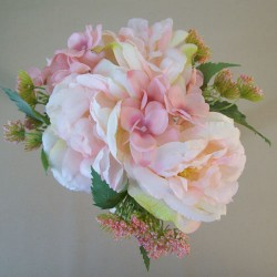 Artificial Hydrangeas Roses and Queen Annes Lace Bouquet Pink Peach - H100 EE2