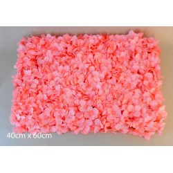 Artificial Hydrangea Flower Wall Panel 40cm x 60cm Coral Pink - H190